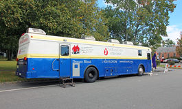 Blood Donation. A vehicle of the blood center of New Jersey parking next to Royalty Free Stock Photo