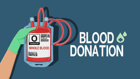 Blood donation wording with Hand holding the blood bag stock illustration
