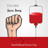 Blood donation, world donor day vector poster. Make blood donation and save the lives stock illustration