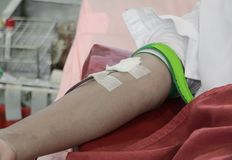 Blood donor in arm injection select focus with shallow depth of field.  Royalty Free Stock Image