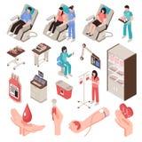 Blood Donor Isometric Set Stock Photos