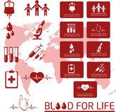 Blood donor. Icon set. Royalty Free Stock Photos