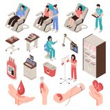 Blood Donor Isometric Set Stock Photos