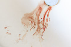 Blood down the drain Royalty Free Stock Image
