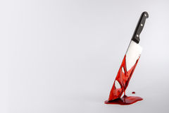 Blood drenched kitchen knife. In pool of blood with copy space Stock Photography
