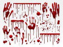 Free Blood Drip. Red Paint Splash, Halloween Bloody Splatter Spots And Bleeding Hand Traces. Dripping Bloods Horror Texture Royalty Free Stock Photos - 124711398