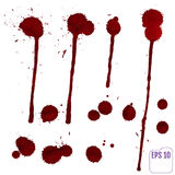 Blood drip. Vector red Ink stain, blots and splashes. Royalty Free Stock Images