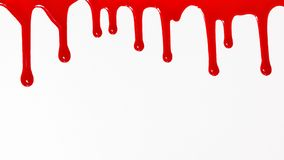 Blood dripping on white background. stock image