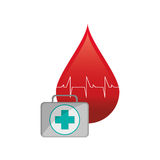 Blood drop cardiogram and first aid kit  icon Stock Photography