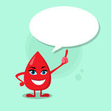 Blood Drop Cartoon Character Point Finger Chat Box Stock Photo