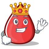 Blood Drop Cartoon Mascot国王字符 免版税图库摄影