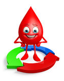 Blood Drop Character with arrow Royalty Free Stock Image