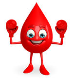 Blood Drop Character with boxing gloves Stock Photo