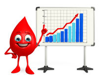 Blood Drop Character with business graph Stock Photo