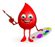 Blood Drop Character with color plate Royalty Free Stock Images