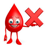 Blood Drop Character with cross sign Royalty Free Stock Photo