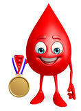 Blood Drop Character with gold medal Royalty Free Stock Photos