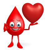 Blood Drop Character with heart Royalty Free Stock Images