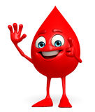 Blood Drop Character with hello pose Stock Image
