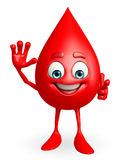 Blood Drop Character with hello pose Royalty Free Stock Photo