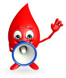 Blood Drop Character with loudspeaker Royalty Free Stock Images