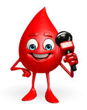 Blood Drop Character with mike Royalty Free Stock Images