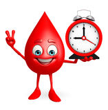 Blood Drop Character with table clock Royalty Free Stock Photography