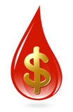 Blood drop with dollar symbol Royalty Free Stock Images