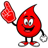 Blood Drop with Foam Finger Royalty Free Stock Image