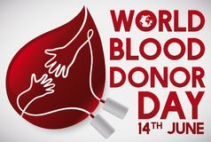 Blood Drop with Hands United for World Blood Donor Day, Vector Illustration. Red drop like blood bag with hands united promoting blood donation events during Stock Photos