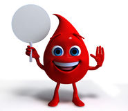 Blood drop holding blank sign. A three-dimensional cartoon of a drop of blood, holding a blank sign Royalty Free Stock Image