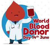 Blood Drop like Doctor Promoting Donation for Blood Donor Day, Vector Illustration. Cute blood drop like a doctor wearing medical coat and stethoscope and Stock Photo