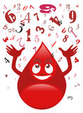 Blood drop and numbers Stock Photography