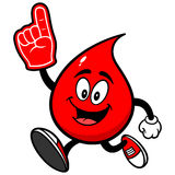 Blood Drop Running with Foam Finger Stock Photos