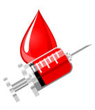 Blood drop and syringe Stock Photography