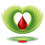 Blood drop and wing Royalty Free Stock Photos