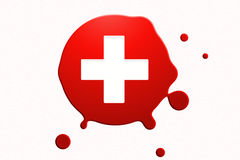 blood droplet with white cross Stock Photos