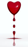 Blood dropping heart. Isolated on white background. 3d render Stock Image