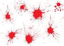Blood drops. Red blood drops on white surface. Shot from gun Stock Images