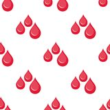 Blood Drops Flat Icon Seamless Pattern. A seamless pattern with red blood drops flat icon, isolated on white background. Useful also as design element for Royalty Free Stock Images