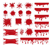 Blood drops and stains. Vector set of red splatter Royalty Free Stock Images