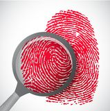 Blood fingerprint through magnifying glass Royalty Free Stock Photos