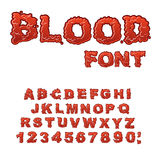 Blood font. Red liquid letter. Royalty Free Stock Photos