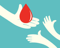 Blood giving. Close up of hand holding a drop of blood and hands of children on green background vector illustration