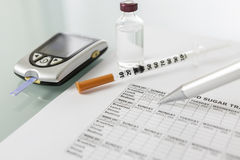 Blood glucose diary Royalty Free Stock Photos