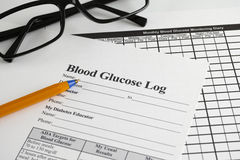 Blood Glucose Log Stock Photography