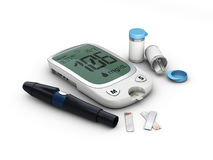Blood glucose meter glucometer, diabetes blood glucose test. 3d Illustration. Blood glucose meter glucometer, diabetes blood glucose test, 3d Illustration royalty free stock photos