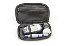 Blood glucose meter test kit, the blood sugar value is measured Royalty Free Stock Images