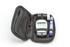 Blood glucose meter test kit, the blood sugar value is measured Royalty Free Stock Image