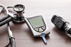 Blood glucose meter to check the blood sugar level Royalty Free Stock Photos